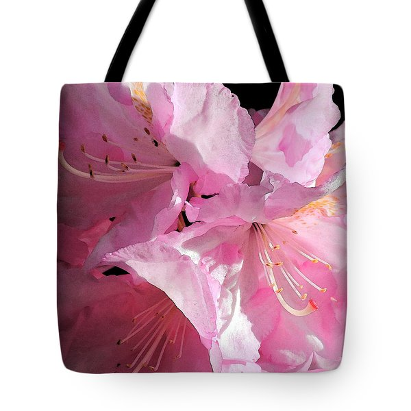 Rhododendron On Black Tote Bag
