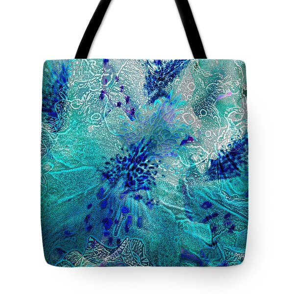 Rhododendron Turquoise Lace Tote Bag