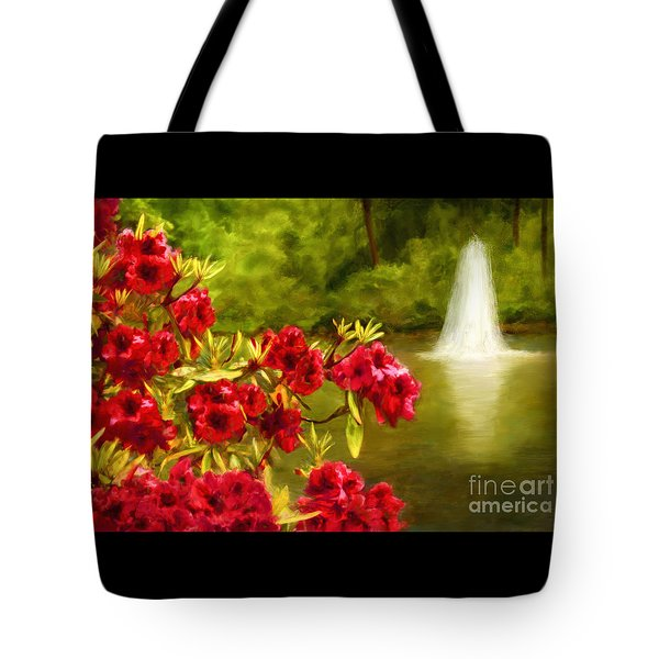 Painted Rhododendrons Fountain In Pond   Tote Bag