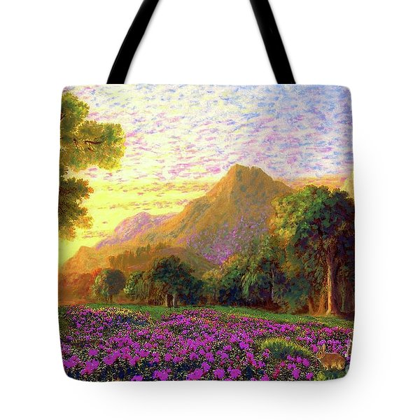 Rhododendrons, Rabbits And Radiant Memories Tote Bag by Jane Small