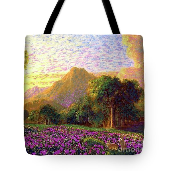 Tote Bag featuring the painting Rhododendrons, Rabbits And Radiant Memories by Jane Small