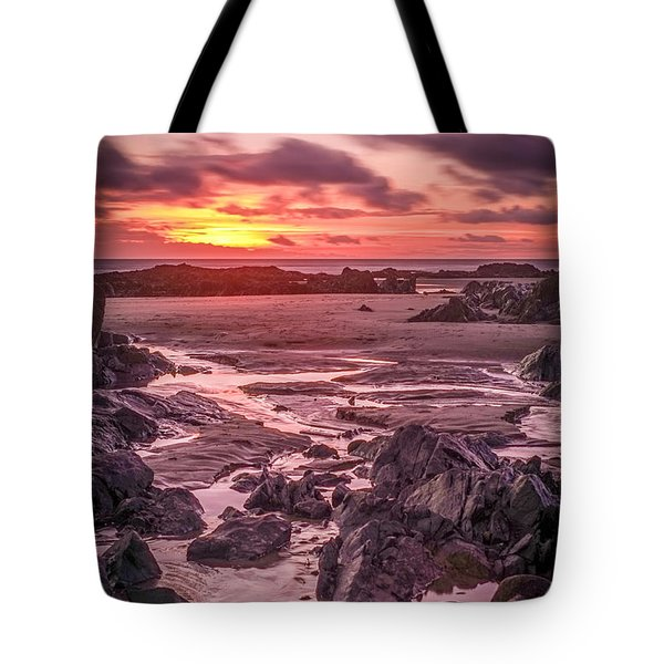 Rhosneigr Beach At Sunset Tote Bag