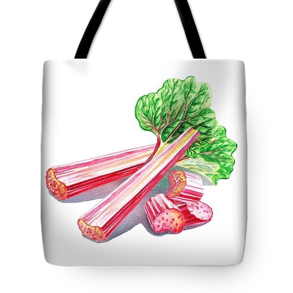 Tote Bag featuring the painting Rhubarb Stalks by Irina Sztukowski