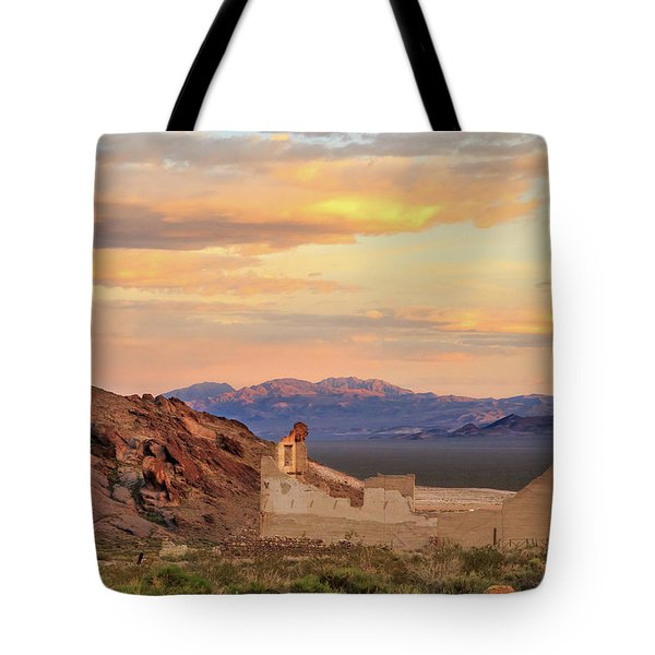 Tote Bag featuring the photograph Rhyolite Bank At Sunset by James Eddy