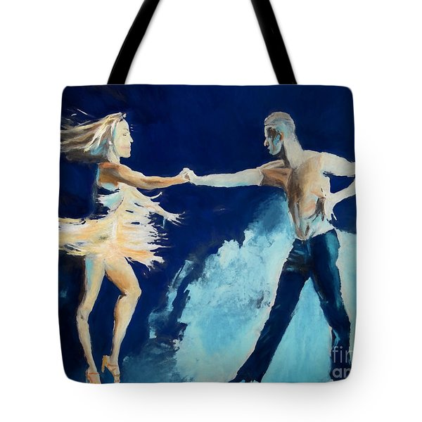 Tote Bag featuring the painting Rhythm Is Going To Get You by Judy Kay