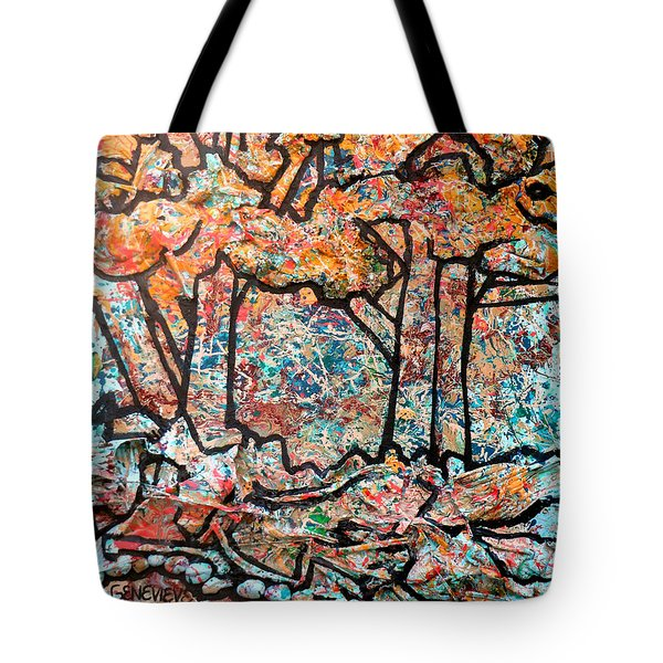 Tote Bag featuring the mixed media Rhythm Of The Forest by Genevieve Esson