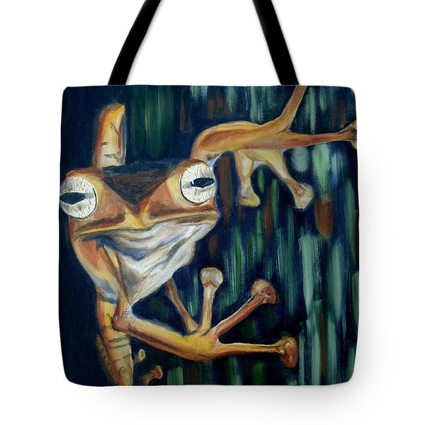Tote Bag featuring the painting Ribbit by Donna Tuten