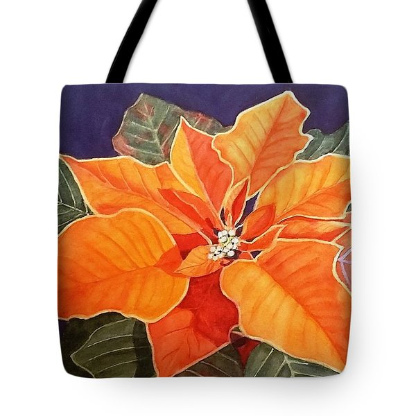 Ribbon Candy Poinsettia Tote Bag