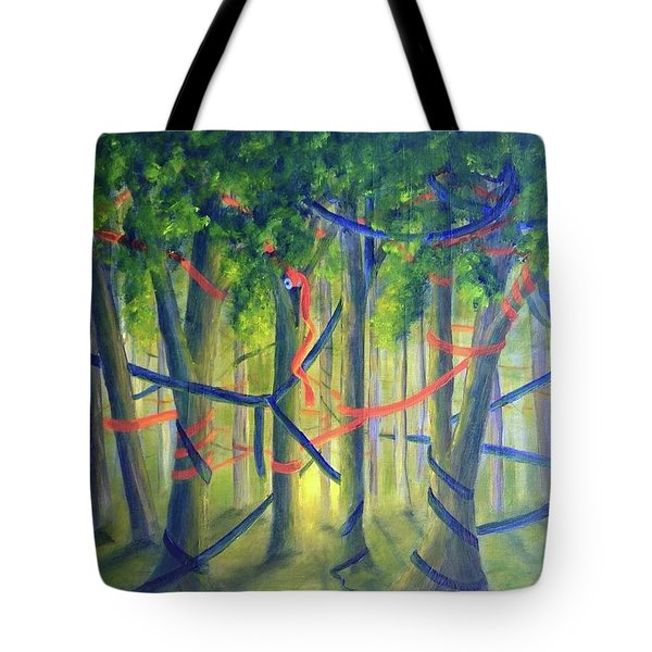 Ribbon Dance Tote Bag by T Fry-Green