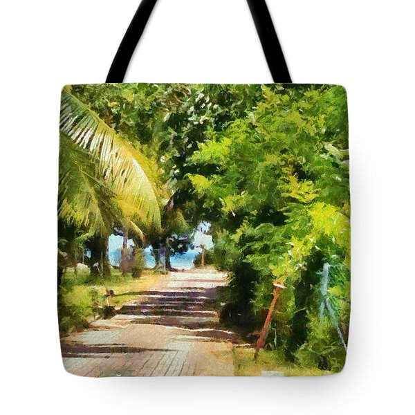 Rich Green Path Tote Bag