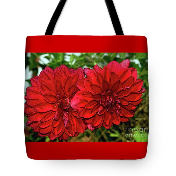 Tote Bag featuring the photograph Rich Red Dahlias By Kaye Menner by Kaye Menner