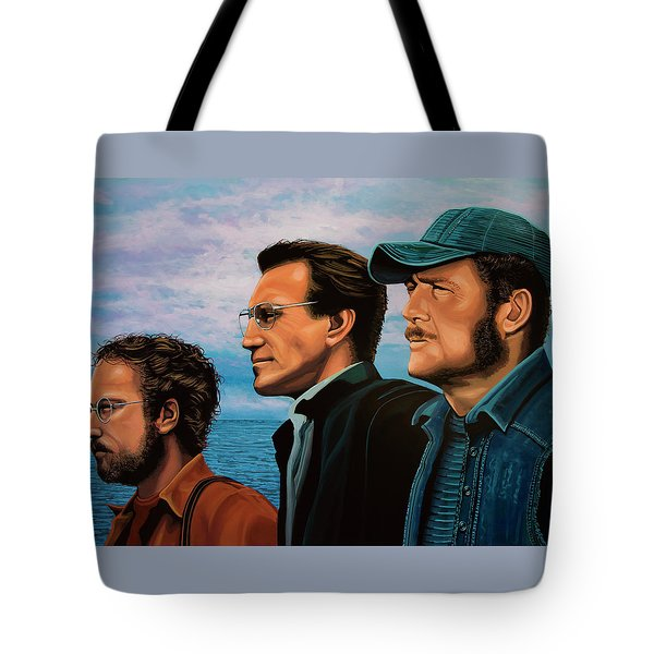 Jaws With Richard Dreyfuss, Roy Scheider And Robert Shaw Tote Bag by Paul Meijering