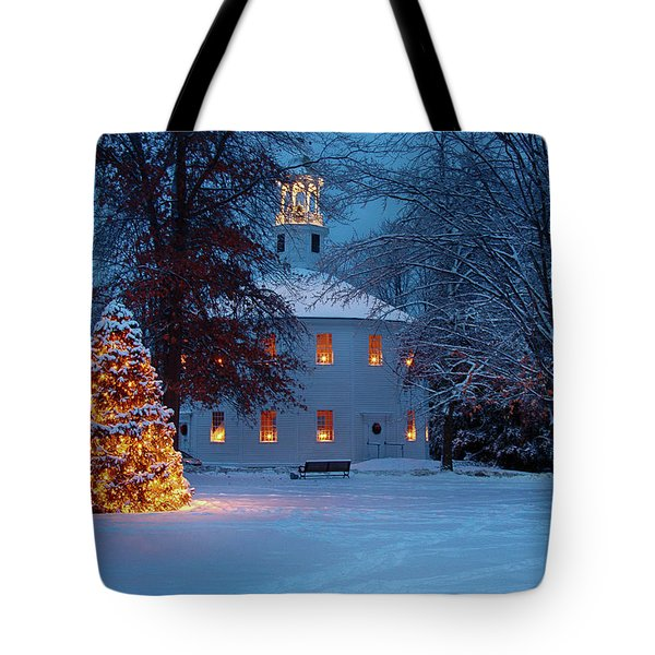 Tote Bag featuring the photograph Richmond Vermont Round Church At Christmas by Jeff Folger