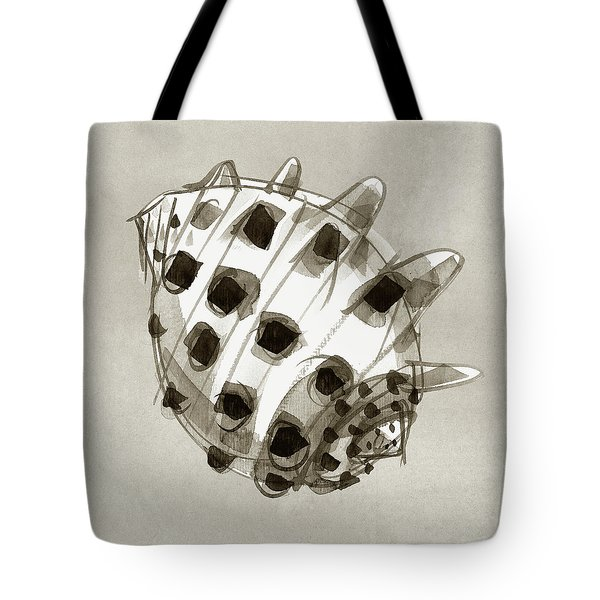 Tote Bag featuring the painting Ricinus Drupe - Back by Judith Kunzle