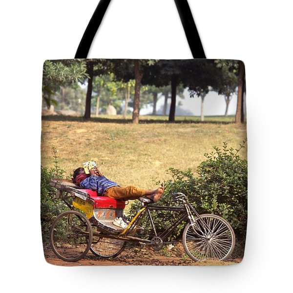 Rickshaw Rider Relaxing Tote Bag by Travel Pics