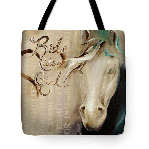 Ride Like A Girl 16x20 Tote Bag