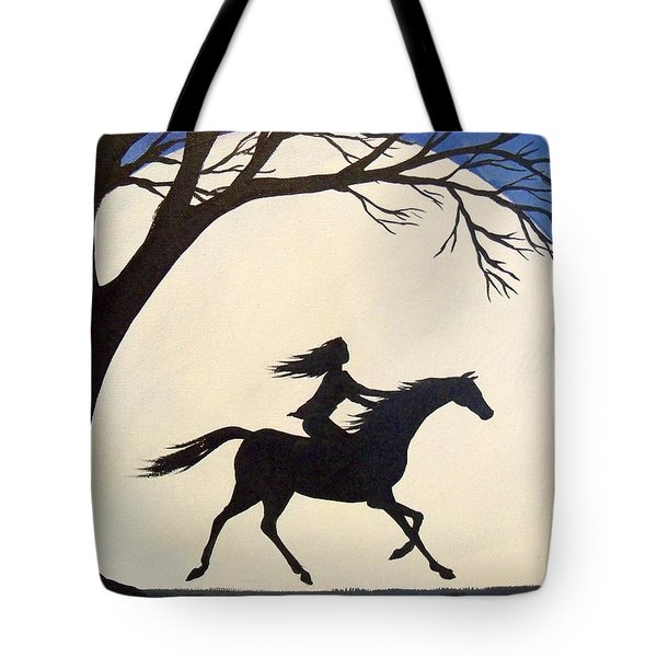 Ride Like The Wind  - Silhouette Girl Riding Horse Tote Bag