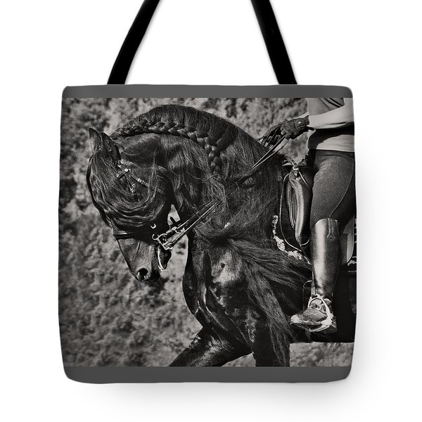 Tote Bag featuring the photograph Rider And Steed Dance D6032 by Wes and Dotty Weber