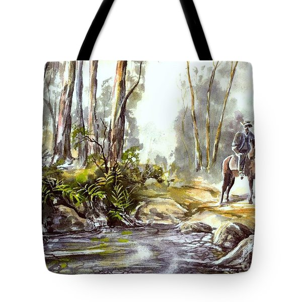Rider By The Creek Tote Bag