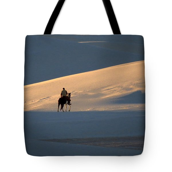 Rider In The Sand #5 Tote Bag by Cindy McIntyre