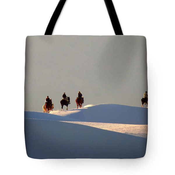 Riders In The Sand #2 Tote Bag by Cindy McIntyre