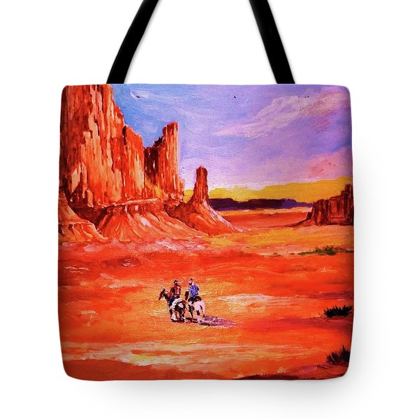 Riders In The Valley Of The Giants Tote Bag