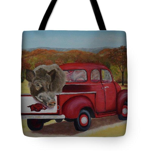 Ridin' With Razorbacks Tote Bag by Belinda Nagy