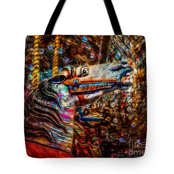 Tote Bag featuring the photograph Riding A Carousel In My Colorful Dream by Michael Arend