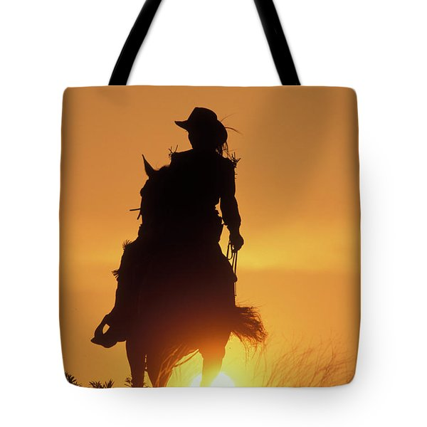 Riding Cowgirl Sunset Tote Bag