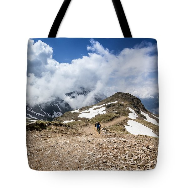 Riding Down The Mountain Tote Bag