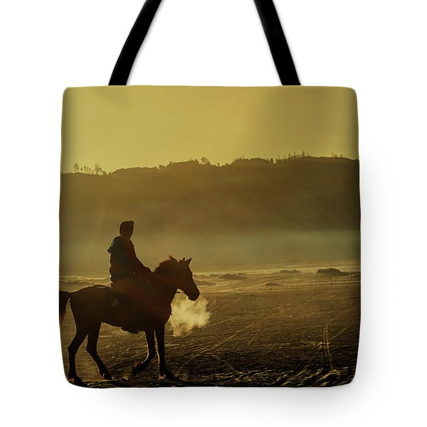 Riding His Horse Tote Bag