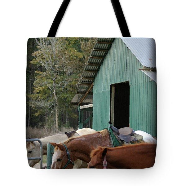 Tote Bag featuring the digital art Riding Horses by Kim Henderson