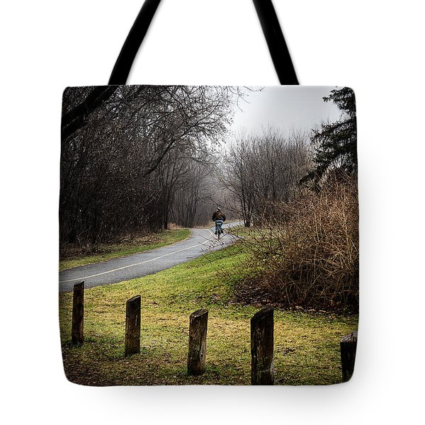 Riding Into The Fog Tote Bag