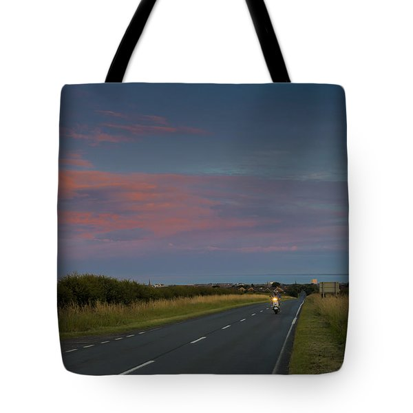 Riding Into The Sunset Tote Bag by David  Hollingworth