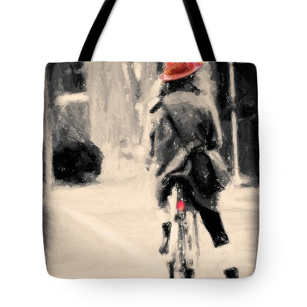 Riding My Bicycle In A Red Hat Tote Bag