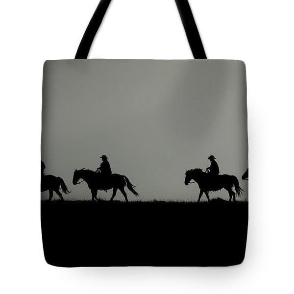 Riding The Range At Sunrise Tote Bag