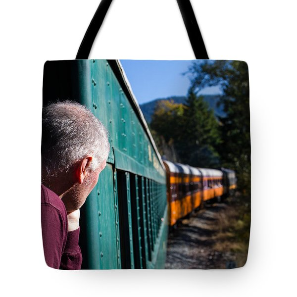 Riding The Train 8x10 Tote Bag