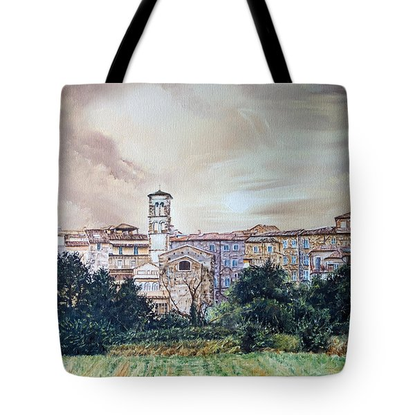 Rieti Panoramic Tote Bag by Michel Angelo Rossi