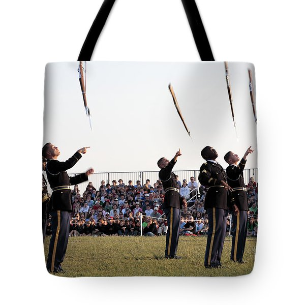 Rifle Toss By The Old Guard At The Twilight Tattoo  In Washington Dc Tote Bag