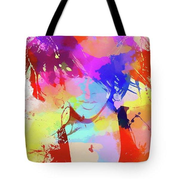 Rihanna Paint Splatter Tote Bag by Dan Sproul