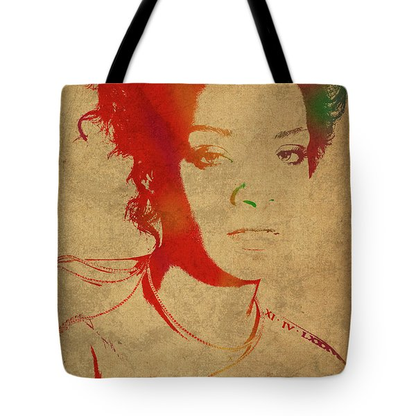 Rihanna Watercolor Portrait Tote Bag by Design Turnpike