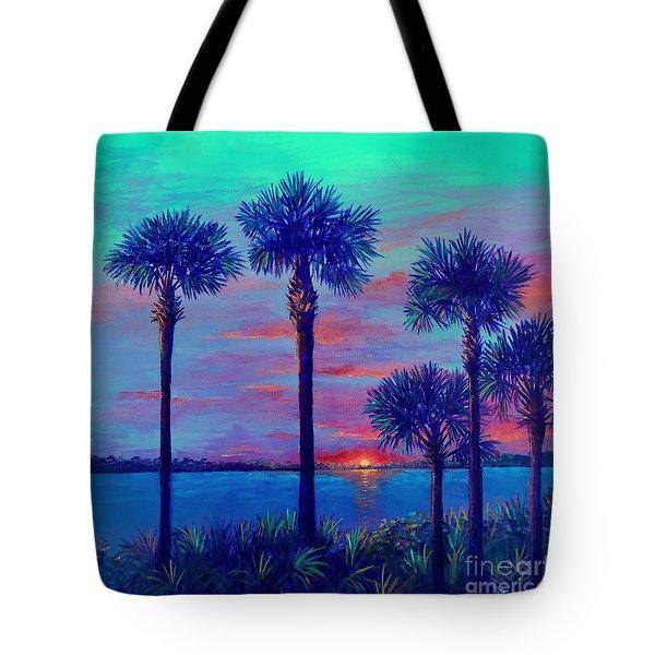 Ringling Bridge Sunset Tote Bag by Lou Ann Bagnall