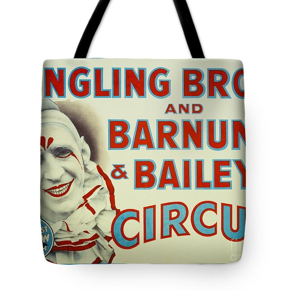 Ringling Bros And Ringling Bros And Barnum And Bailey Clown Circus Poster Tote Bag by MMG Archives