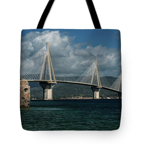 Tote Bag featuring the photograph Rio-andirio Hanging Bridge by Jaroslaw Blaminsky
