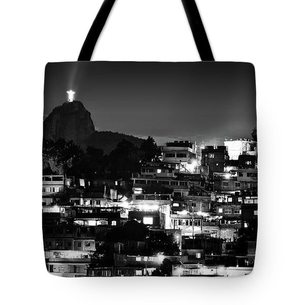Rio De Janeiro - Christ The Redeemer On Corcovado, Mountains And Slums Tote Bag
