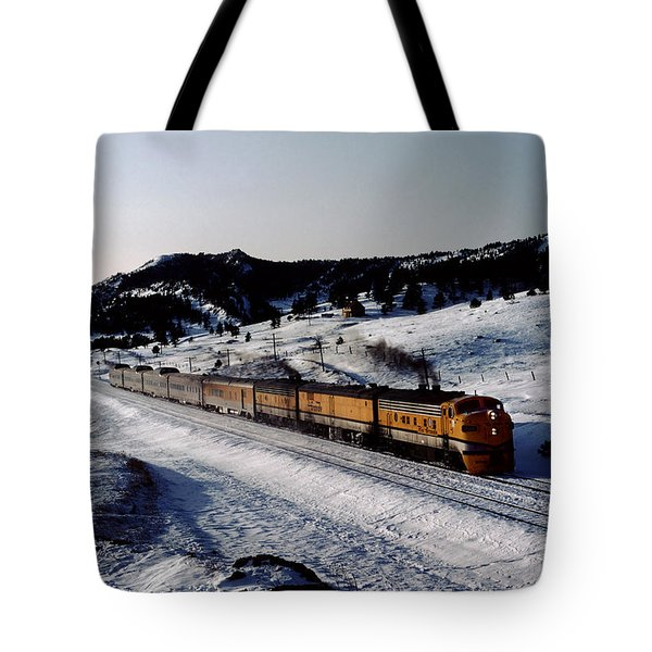 Rio Grande Zephyr Trainset In The Snow, Plainview Colorado, 1983 Tote Bag