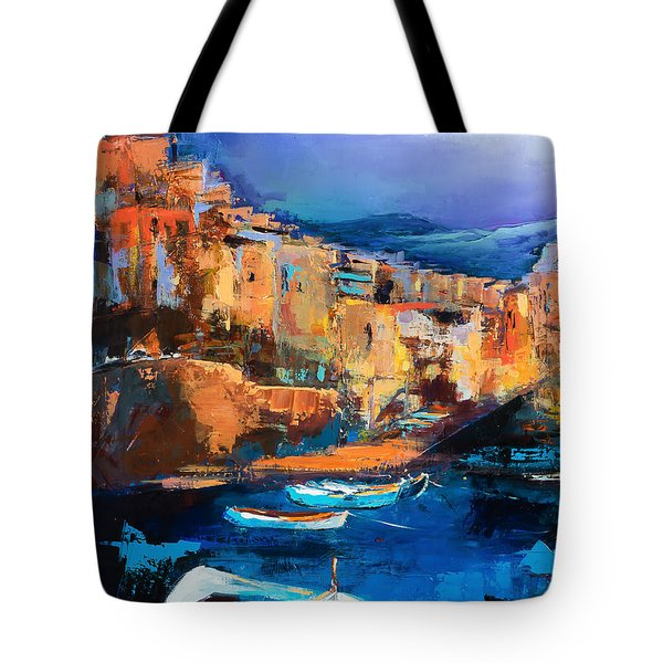 Tote Bag featuring the painting Riomaggiore - Cinque Terre by Elise Palmigiani