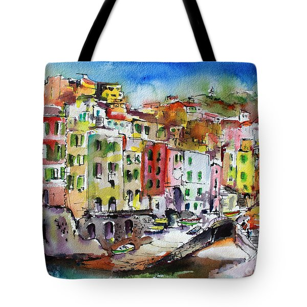 Tote Bag featuring the painting Riomaggiore Cinque Terre by Ginette Callaway