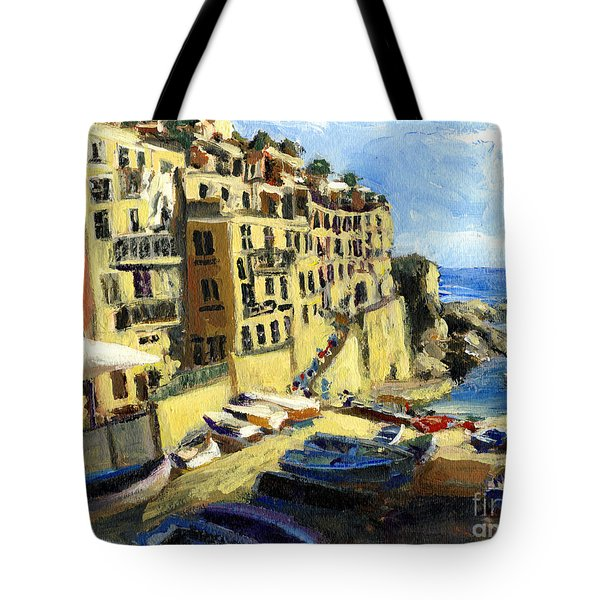 Riomaggiore Italy Late Afternoon Tote Bag by Randy Sprout
