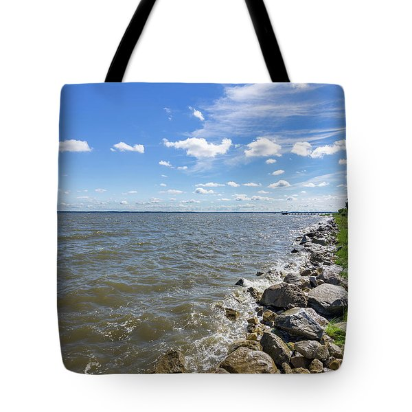 Tote Bag featuring the photograph Rip-rap On The Chester River by Charles Kraus